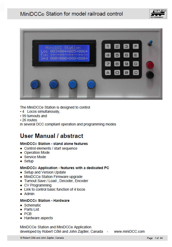 MiniDCC Digital Command Control - Version 3 0 now available
